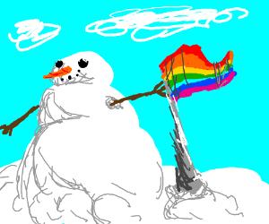 Rainbow flag snowman