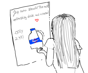 girl looking at ad to buy bleach
