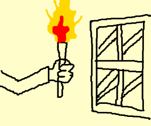 person burning either a window or a house (:::
