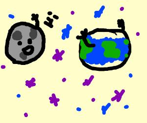moon greets earth