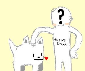 White dog named Emi the owner is huskyDraws