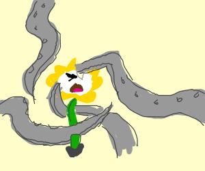 Flowey being killed by 4 metal tentacles