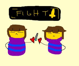 Frisks heart fights other Frisk heart