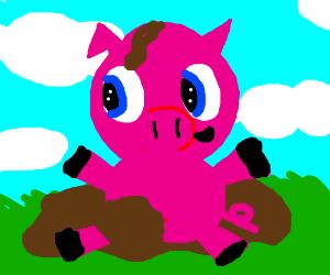 Cute pig plays in mud <3