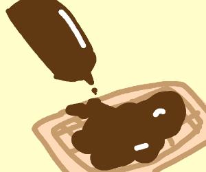 Chocolate syrup waffle