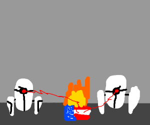 Portal Turrets destroying the American flag