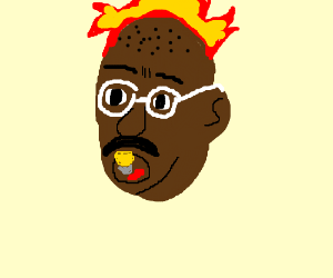 Gandhi holding lightbulb in mouth is on fire