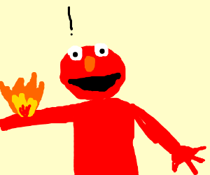 Angry Elmo with fire for hair - Drawception