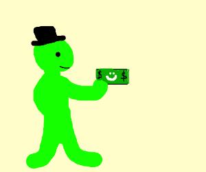 Green man holding smiling money