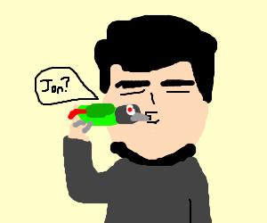 JonTron kissing the bird.