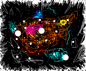 Happy flower drifting in space