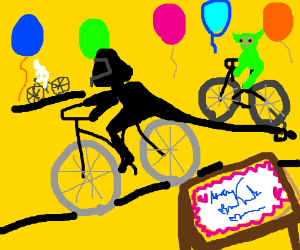 Darth vader and friends ride bikes at a party