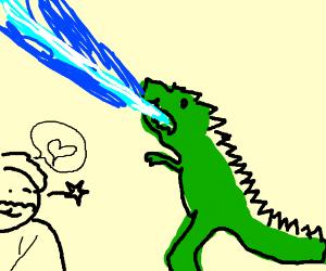 Obi-Wan Kenobi flirting with Godzilla