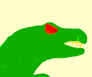 Big lizard with many teeth and red eyes