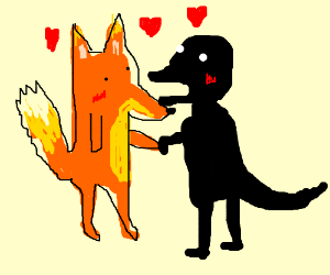 firefox and a dinosaur making love