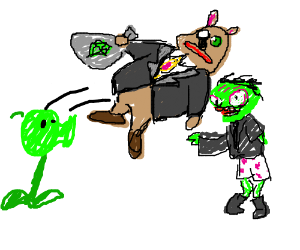 Green fungus throws money bag at zombie