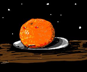 A creepy looking orange that looks like a moon