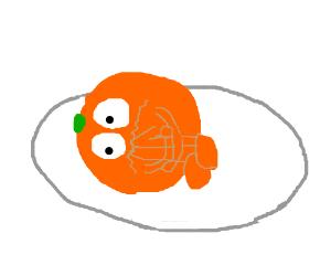 Disturbed Orange on a plate