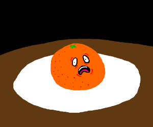 orange is scared and lying on a plate