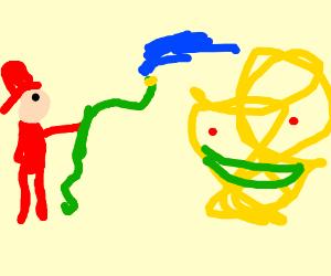 A fireman spraying water on a weird monster!