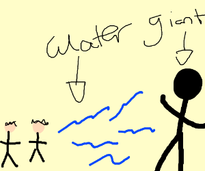 two guys throwing water at a black giant
