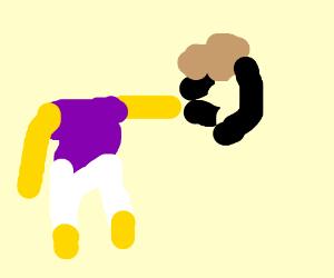 Lanky Kong attacks Johnny Joestar
