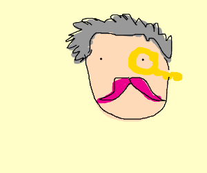 Man with fancy pink tache