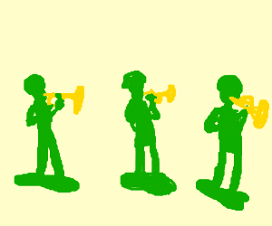 Army men marching playing trumpets