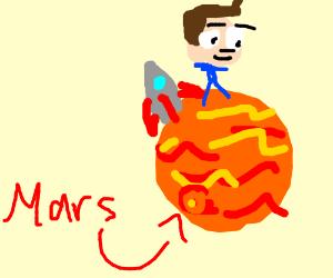 man lands on mars