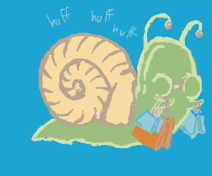 Asthmatic Snail with Heavy Shopping