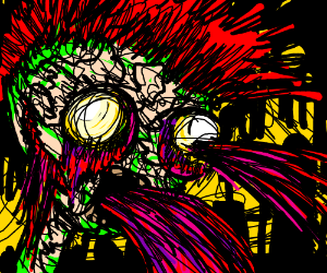 Dead guy with red spiky hair/blood spewing
