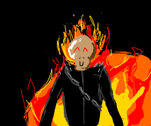 ghost rider, but cuter, with brown pallete