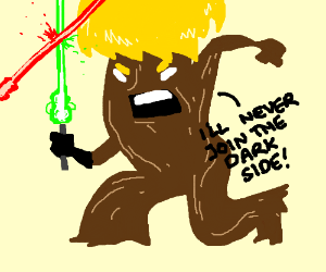 Tree doesnt like the dark side of the force