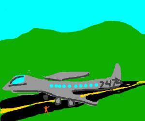 747 on Landing strip