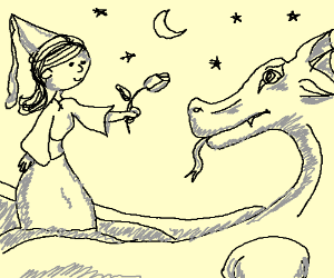 Princess gives rose to dragon