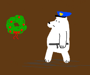 A polar bear cop with a Christmas wreath