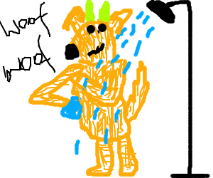 A dog with green horns takes a shower.