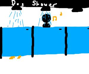 A refreshing dog shower