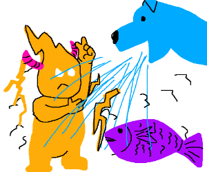 Electric demon in dog shower next to fish