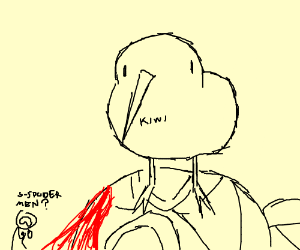 Kiwi Bird Stands On Bleeding Spiderman S Face Drawing By Zhoco