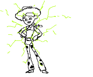 Jessie can shoot lightning with her hair