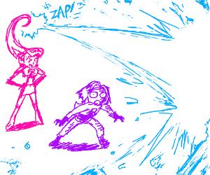 Jessie shows James her new blue laser powers.