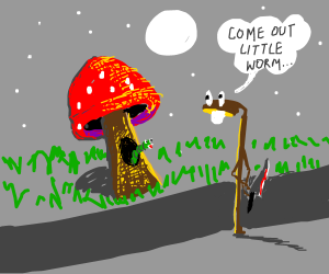 a worm in a mushroom is lured by a street lamp