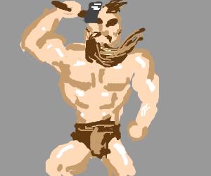 a very muscular arcane warrior in a thong wields-hammer