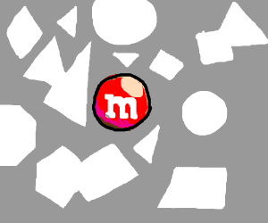 The M treat of white geometric shapes