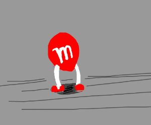M and m's stands alone in a gray place