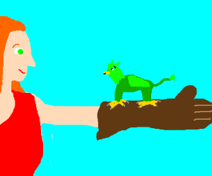 A small green griffin lands on a girl's arm.