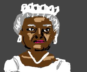 head of the Queen of UK... but black