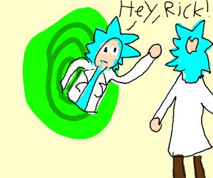 Rick says hey to himself through portal