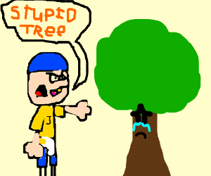 boy calling tree stupid and making it cry (drawing by SML Jeffy Gamer)